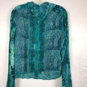 Jaipur jacket teal color zipper front sheer trim